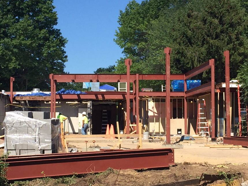 Day 34 of Construction (July 24, 2015) - Steel has arrived! New front entrance hall under construction!