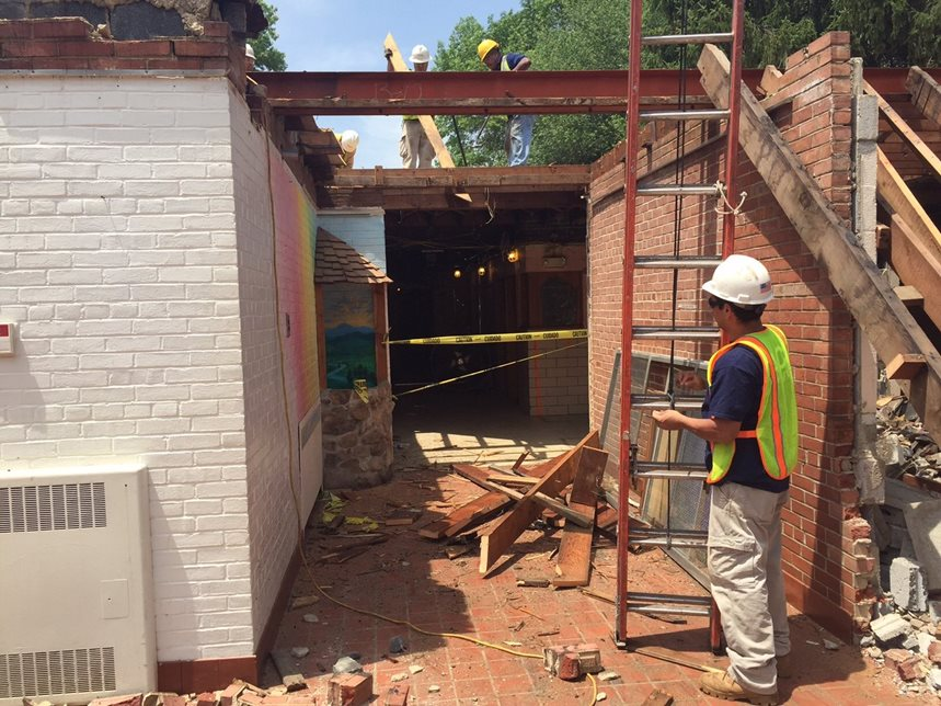 Day 9 of Construction (June 23, 2015) - Demolition of existing front entrance.