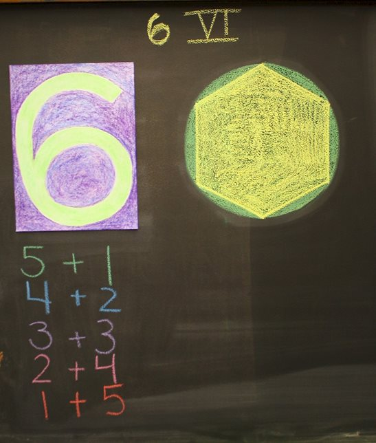 A first-grade teacher's drawings show different representations of the number 6, including a geometric representation.