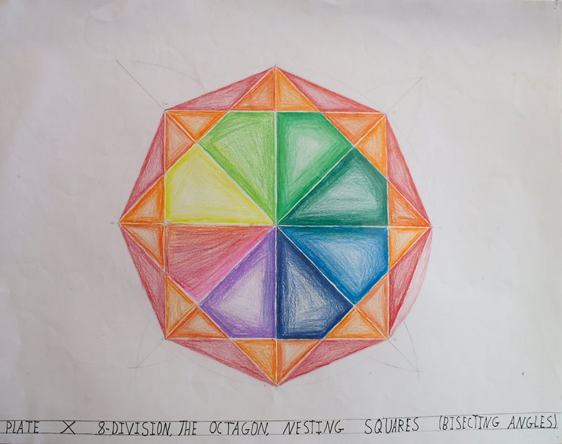 "Sixth-grader's geometric drawing titled ""Plate X 8-Division, The Octagon, Nesting Squares (Bisecting Angles)."""